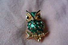 Great colourful green Owl on twig enamel costume jewellery brooch