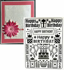 Darice Embossing folders - BIRTHDAY COLLAGE folder 1219-227 words gifts balloons