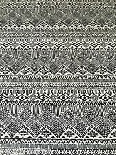 B061 - VISCOSE Elastane Black White African Aztec Print Jersey Stretch Fabric