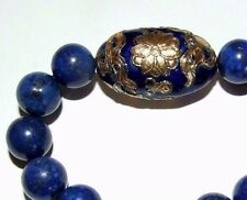 FABULOUS LAPIS LAZULI BEADED BRACELET WITH HUGE ENAMELLED BEAD.