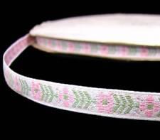 """2 Yds Pastel Pink White Flower Woven Jacquard  Ribbon Trim 3/8""""W"""