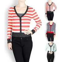 Long Sleeve Striped V Neck Cardigan with Contrast Trim Buttoned Front Cute S M L