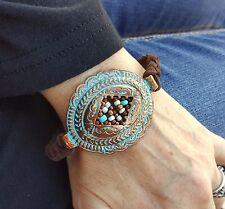 Cowgirl Bling CONCHO Copper Patina Bracelet  Faux suede Gypsy BOHO BRACELET