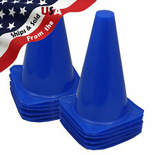 "9"" Tall BLUE CONES Sports Training Safety Cone Qty 12"
