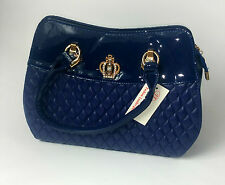 WOMENS BAG BLUE CROWN PATENT SHINY  UK FAST POSTAGE NEW  QUILTED