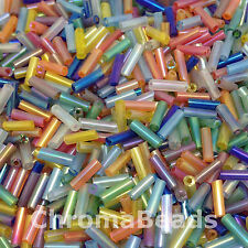 50g glass bugle beads - Mixed Rainbow - approx 6mm tubes, jewellery making