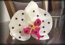 White Orchid Claw Clip Bling, Fuchsia Pink Crystal, flower Bride Hair Accessory
