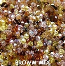 BROWN MIX 100  4MM CRYSTAL  BEADS  JEWELLERY MAKING / TIARAS / WINE GLASS CHARMS
