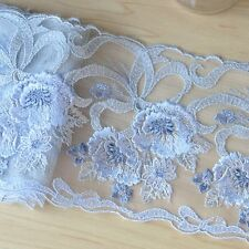 """2 Yards Lace Trim Blue Tulle Exquisite Flower Embroidered Wedding 4.52"""" width"""