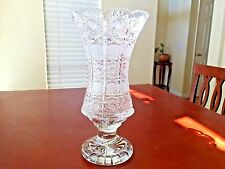"SUPERB BOHEMIAN CZECH CRYSTAL QUEEN LACE FOOTED VASE 12"" TALL"