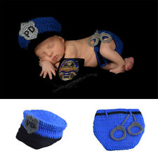 Crochet Newborn Baby Police Outfit Hat&diaper with handcuffs Baby Boy Photo Prop