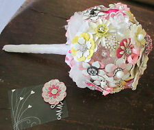 Pink Yellow Enamel Flowers Wedding Bridal Brooch Bouquet Rhinestone Boutonniere