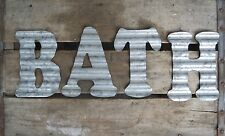 BATH Corrugated Metal Letters Wall Decor Art Vintage Look 3D Free Shipping