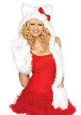 HELLO KITTY Plush White Kitty Hood with Attached Warm Paw Hello Scarf: ADULT