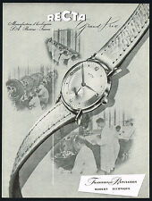 1950 Vintage Recta Grand Prix Wrist Watch Watchmaking Factory Photo Art Print AD