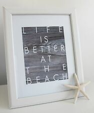 Typography 'Life is Better at the Beach' Art Print A4 Modern Wall Art Home Decor