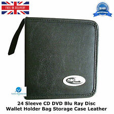 10 x  24 Sleeve CD DVD Blu Ray Disc Wallet Holder Bag Storage Carry Case Leather