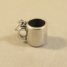.925 Sterling Silver 3-D MUG CHARM Pendant Cup Coffee Tea Drink NEW 925 KT84