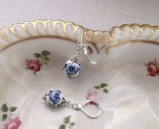 ! oferta! Flash pendientes de moda de grano de Porcelana-Azul y Blanco/Plateado/Redondo/Floral