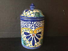 Vtg Mexican Talavera Pottery Ceramic flower 10.5''Tall Canister Ginger Jar W/Lid