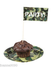 12 ARMY CAMOUFLAGE SOLDIER PARTY FLAG CANAPE COCKTAIL STICKS NOVELTY DECORATION