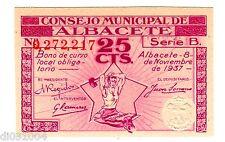 Espagne SPAIN ESPANA CONSEJO ALBACETE Billet 25 CTS  1937 SERIE B NEUF UNC