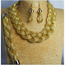 Braided Mesh Gold toned Jewellery set Necklace, earing and bracelet