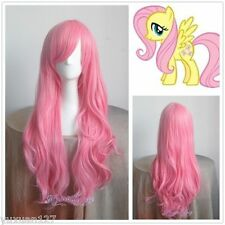 My Little Pony Fluttershy Long Pink Curly Cosplay Wig +Gift