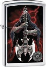 "Zippo ""Anne Stokes-Grim Reaper & Guitar"" High Polish Chrome Lighter, 29109"