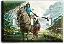 WARRIOR GIRL ON A WILD HORSE TRIPLE LIGHT SWITCH WALL PLATE TEEN BEDROOM TV ROOM