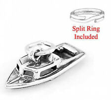 """STERLING SILVER  925 """"BOAT 3D"""" CHARM WITH SPLIT RING"""