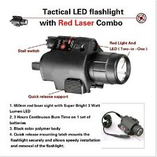 Tactical Red Laser Sight LED Flashlight Combo Weaver Mount 4 Pistol Handgun USA