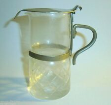 Vintage Old Syrup Jug Cream Pitcher EAPG Glass Chrome Metal Holder & Lid Diamond