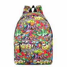 Women Girls Canvas Cartoon Graffiti Fashion Backpack School Bag Large Handbag