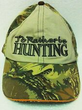 """I'd Rather Be Hunting"" Velcro Camo Ball Cap Hat - NEW - HUNTER CAMO Hat"