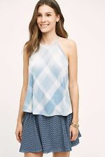NWT $88.00 Anthropologie Checkered Sky Halter Top By Cloth & Stone Large Petite