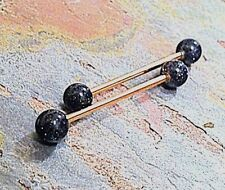 Rose Gold Black Goldstone Industrial Piercing Barbell Scaffold Piercing 14g Body