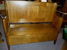 Antique Bench Hall Seat Quartersawn Tiger Oak Ornate carved Refinished restored