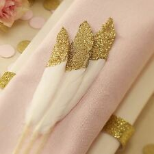 New Ginger Ray Gold Dipped Glitter Feathers x 10 Wedding Table Decorations