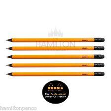 Rhodia lot de 5 crayons de bois noir Linden-HB grade avec gommes