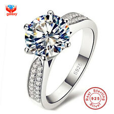 100% 925 Sterling Silver Rings Jewellery Luxury 8mm 2 Carat CZ Wedding Bands 7