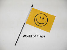 """SMILEY FACE SMALL HAND WAVING FLAG 6"""" x 4"""" Yellow Happy Table Desk Craft Display"""