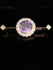 EDWARDIAN ORNATE 18CT LARGE AMETHYST 6CT & OLD CUT DIAMOND 1.52CT CLUSTER BROOCH