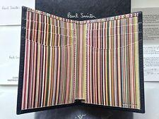 Paul Smith Porta Carte a righe Signature Portafoglio-Pelle Nera