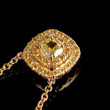18ct Yellow Gold Natural Fancy Yellow Diamond and Sapphires Pendant Retail £5500