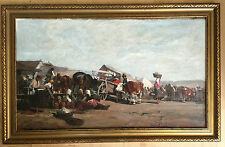 late 19th century Hungarian school oil painting on board signed gilt frame