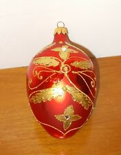 Vintage Large Glass Christmas Ornament Hand Painted Made In Poland Mouth Blown