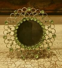 "Green Jeweled Silvertone Round Photo Frame/Picture Holder 5"" Tall"
