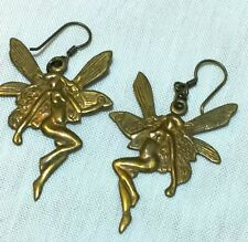 Vintage art nouveau deco brass GT fairy drop hook earrings green Xmas gift