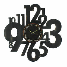 VERY LARGE RETRO / SHABBY CHIC BLACK NUMBERS WOOD WALL CLOCK.NEW & BOXED.